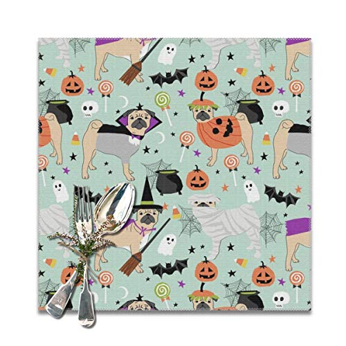 shower curtain doormat Pug Halloween Costume Cute Dogs in Costumes Placemats for Dining Table,Washable Placemat Set of 6, 12x12 inches]()