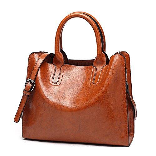 Bright Messenger Bag Leather Bag Pu Large Capacity, Brown