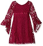 Biscotti Big Girls' Luxe Lace Dress with Bell Sleeve, Red, 8