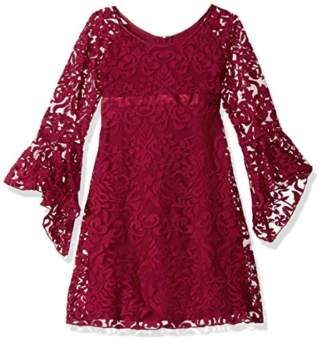 Biscotti Big Girls' Luxe Lace Dress with Bell Sleeve, Red, 7 by Biscotti