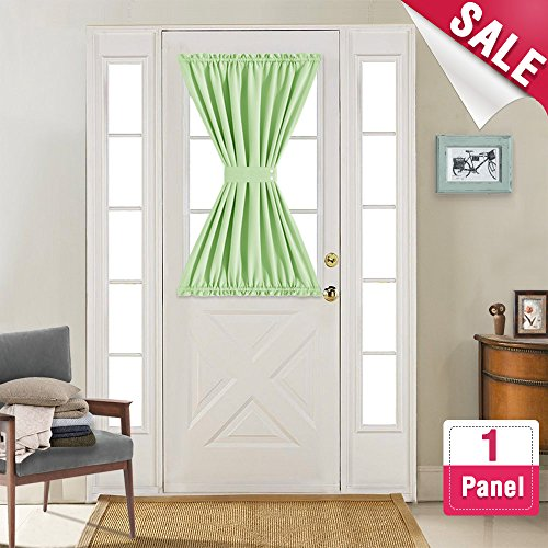 Vangao French Door Panel Curtains Room Darkening French Door Curtain Panels 40 inch Length French Door Curtains, Sold Individually, Grass Green, Tieback Included (Pannels Window)