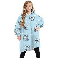Sherpa Hoodie Sudadera Manta para niños, Manta usable de Sherpa con Estampado de Moda, cálida y acogedora Manta de TV…