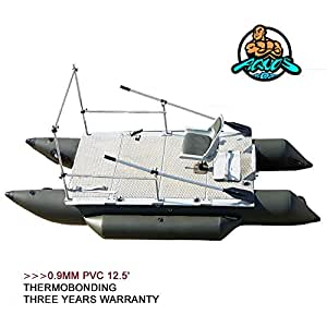Heavy-Duty 2018 NEW Thermobonding 0.9mm Thickness PVC 12.5' Inflatable Pontoon Boat for Bass Fishing, Lure fishing,Made By German PVC,Aluminum Floor Board, Folding seat,Transport Canada approved