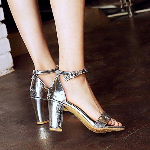 Aisun Damen Offene Zehen Spangen Blockabsatz Knöchelriemchen Sandale mit Schnalle Silber