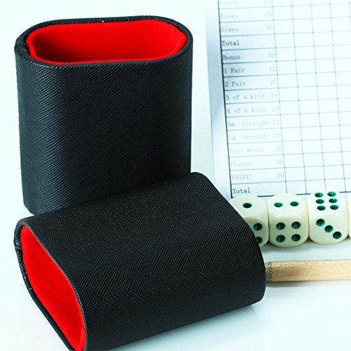 Mini Dice Cup Set By Volin Crik, Hand-Made Dice Cups with 5 Dice and It Fit Inside Many Board Games Such As Backgammon by Volin Crik