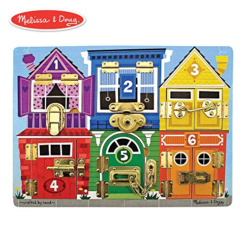 Melissa & Doug Wooden Latches Board (Developmental Toy, Helps Develop Fine Motor Skills, Smooth-Sanded Wood) -
