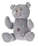 Beba Bean Knit Cotton Animal Rattle for Baby (Bear Grey)