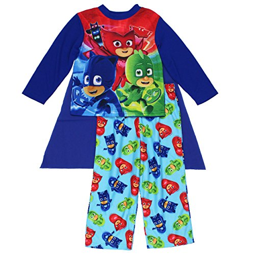 [PJ Masks Boys Pajamas with Cape (8, Blue/Multi)] (Pj Masks Disney Costume)