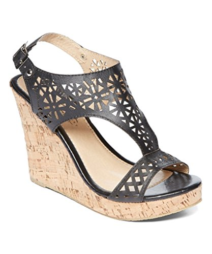 Charles Albert Women's Peek-A-Boo Cork Wedge Boho-Chic Platform Sandal in Black Size: 7 -