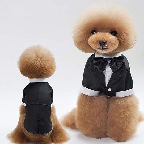 DOGCATMM Pet Dog Tuxedo Bow Tie Ropa para Perros Trajes para ...