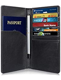 RFID Blocking Leather Wallet (10 Slots), GreatShield Theft Proof Credit Card Holder [7 Large Card Slots | 2 Cash Compartments | 1 Passport Slot] for Men & Women