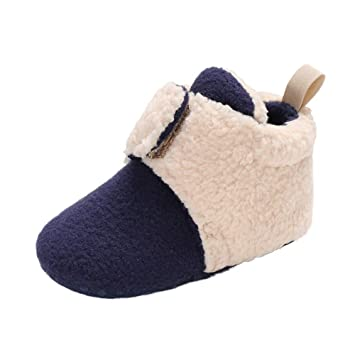 a73f98bd8e394 Amazon.com : Winter Toddler Warm Shoes, Baby Girls Boys Soft Soft Booties  Multi Color Splicing Bandage Snow Boots (6-12 Months, Dark Blue) : Beauty