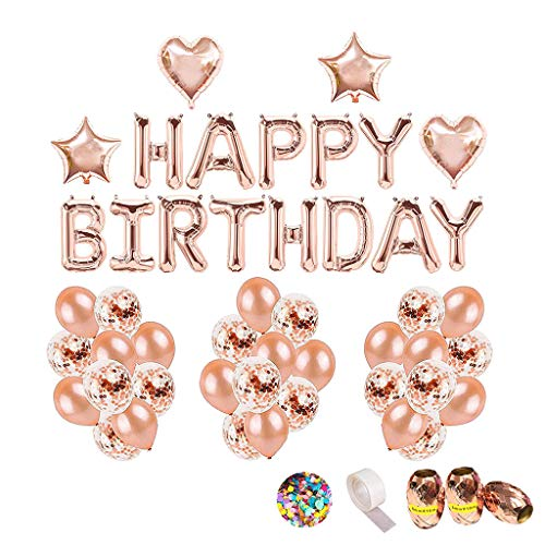 -  Orcbee  _DIY Birthday Decoration Happy Birthday Garland Letters Foil Balloon Rose Gold Balloons