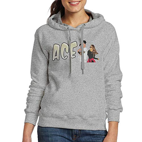(Women's Hooded Sweatshirt No Pockets ACE Family Fashion Classic Style Ash XL)