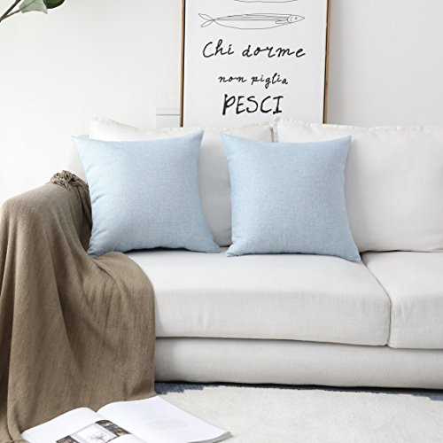 HOME BRILLIANT Lined Linen Cushion Covers Set of 2 Decorative Throw Pillow Covers for Bench, 18 x 18 inch, Light (Office Square Bench)