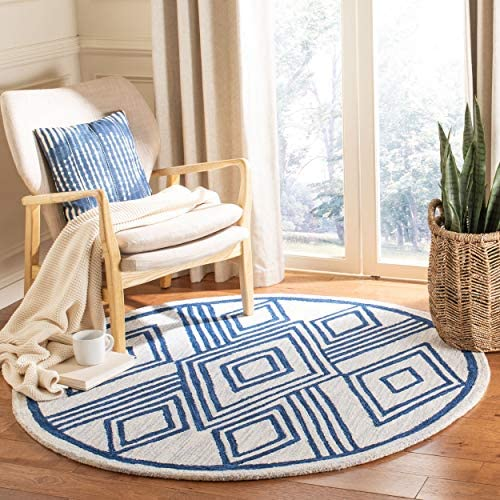 Safavieh MLP156A-5R Micro-Loop Collection MLP156A Handmade Ivory and Navy Premium Wool Area 5' Round Rug