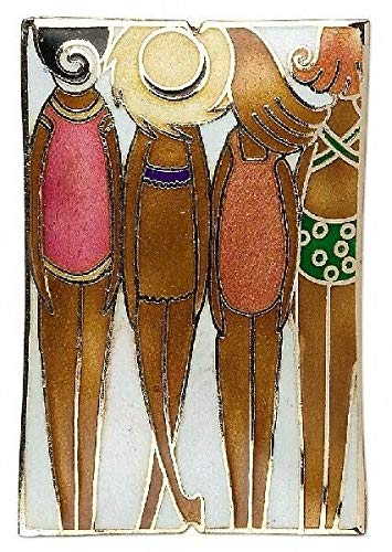 1 Cloisonne 59X40Mm Double Sided Standing Figure Beach Girls Focal Bead