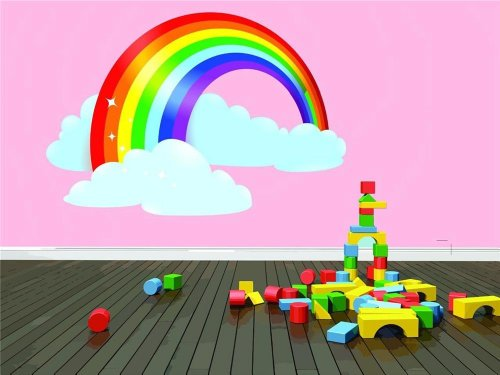 Design with Vinyl Design 134 Bedroom Mural Huge-Inch,Ful Rainbow with Puffy Clouds Wall Decal, 30-Inch By 30-Inch, As Seen Only