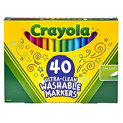 Crayola Ultra Clean Washable Markers, Fine Line Marker Set, Gift for Kids, 40Count: Toys & Games