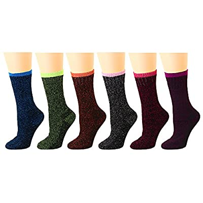 Falari 6-Pack Women's Thick Warm Heated Sox Excellent for Cold Weather Temp 5-25°F