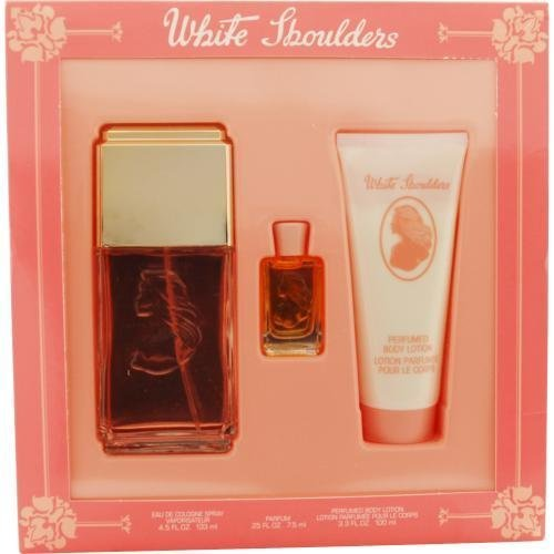 New - WHITE SHOULDERS by Evyan EAU DE COLOGNE SPRAY 4.5 OZ & BODY LOTION 3.3 OZ & PARFUM .25 OZ MINI - 134517 by (0.25 Ounce Cologne Spray)