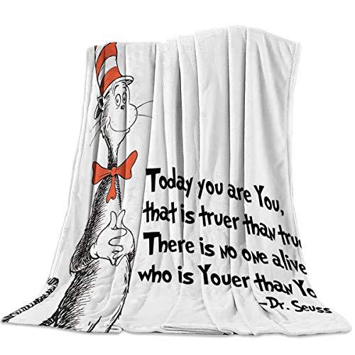 Hat Fleece Easy - T&H Home Artistic Blanket, Freehand The Cat in The Hat Dr. Seuss Soft Flannel Fleece Bedding Blanket for Couch, Throw Blanket for Cover Men Women Aults Kids Girls Boys 40