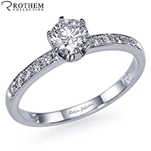 Brilliant Genuine 0.46 ct F I1 Thin White Gold Six Prong Side Stone Round Diamond Engagement Ring 01440958