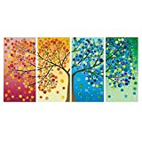 GOUPSKY Colorful Tree Oil Painting ,Flower Tree Wall Art Landscape Canvas Prints for Home Decoration 4 panel