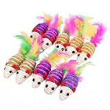 SODIAL(R) 10pcs Cute Mouse Ribbed Rattles Cat Pet Sisal Rope Weave Toy Kitten Teaser Toys