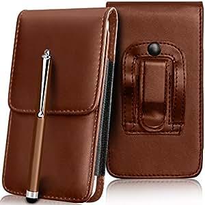 N4U Online - Cubierta y pluma de la aguja de Apple Iphone 5C superior de la PU del cuero del caso de la piel de la bolsa de cinturón Holster - Marrón