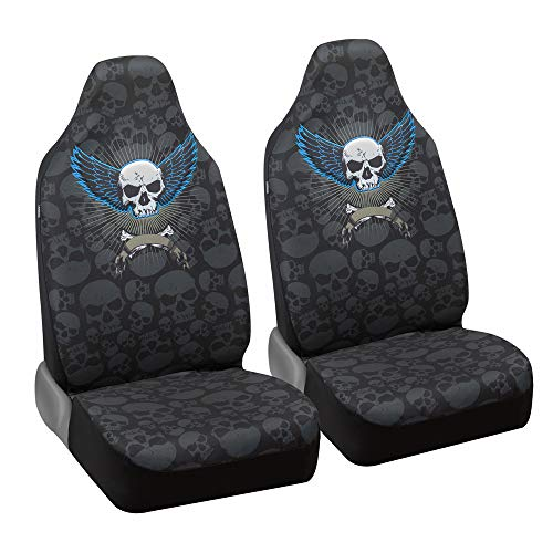 BDK carXS Winged Skull Front Seat Covers - Universal Fit High-Back Seat Cover Protector with Skull Pattern for Car Truck Van and SUV