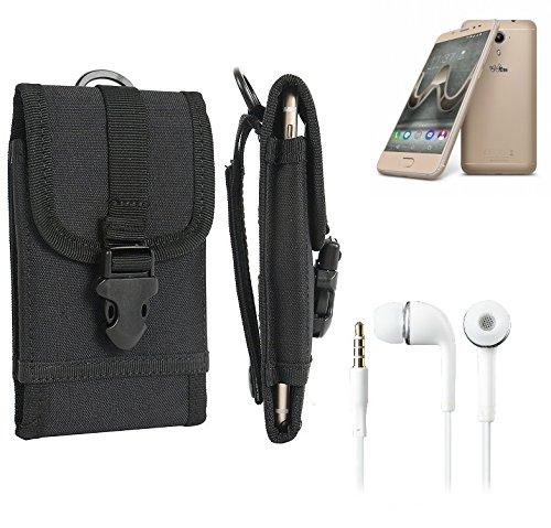 bolsa del cinturón / funda para Wiko U Feel Prime, negro + Auriculares   caja del teléfono cubierta protectora bolso - K-S-Trade (TM)