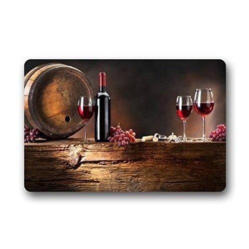 Price comparison product image XiaoS Door Mats Custom Red Wine Stain Resistant Color Indoor / outdoor Floor Mat Doormat Decor Rug 23.6 (L) x 15.7 (W) inches