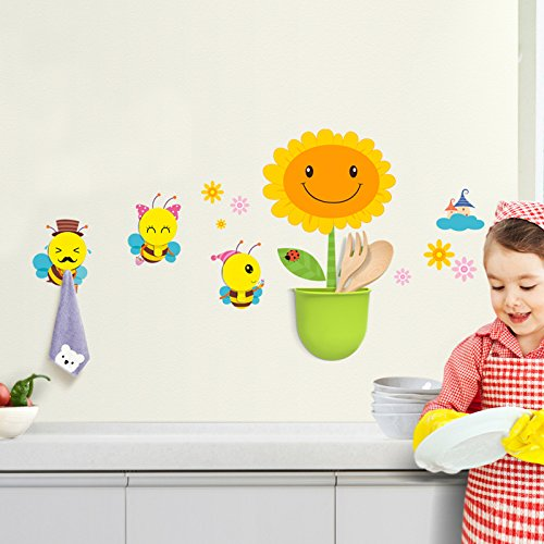 Goodia Children's Wash Gargle Suit With 3 X Coat Hooks and 1 X Storage box & Stick Wall Decal MegaPack (Bee Style) Perfect Home Natural Resuable Decorations for Baby Nursery Bedroom, Kid's Room, Boy's Room, Girl's Room, R outlet