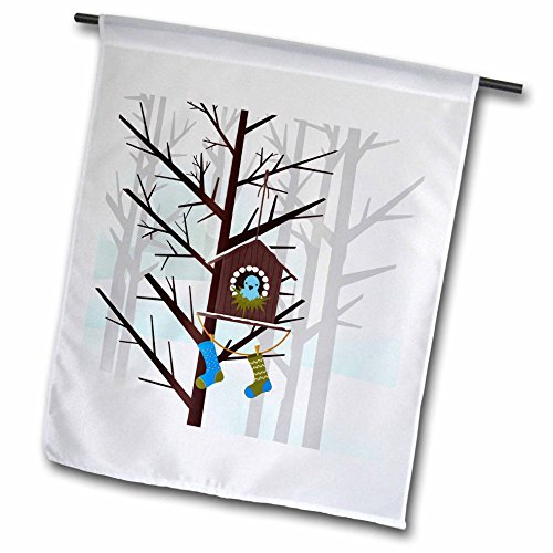 t Christmas Collection - Holiday Woodland Scene with Christmas Stockings on a Birdhouse - 12 x 18 inch Garden Flag (fl_262632_1) ()