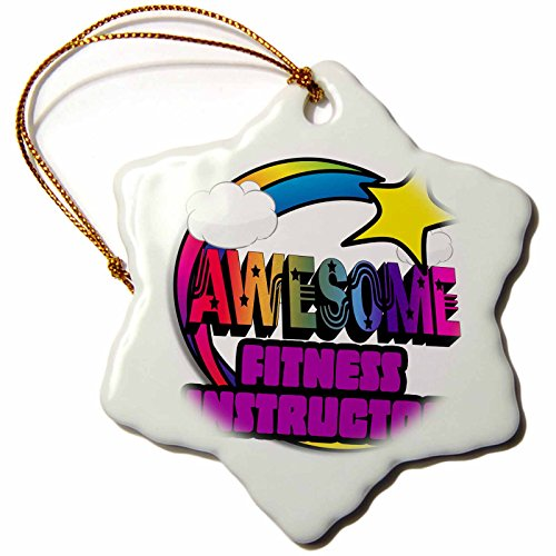 3dRose Shooting Star Rainbow Awesome Fitness Instructor - Snowflake Ornament, Porcelain, 3-Inch (orn_201289_1)