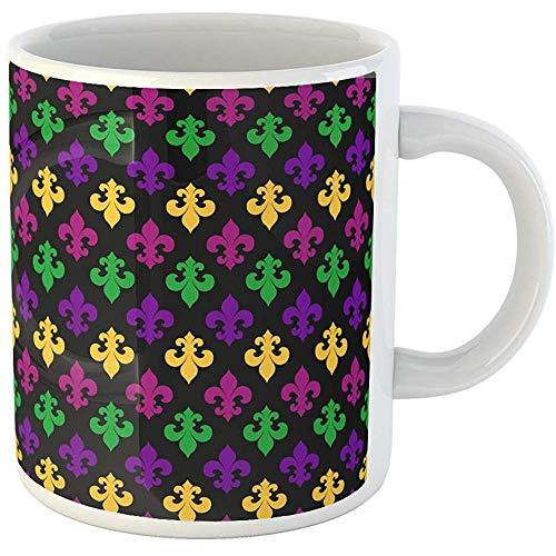 Personalized 11 Ounces Funny Coffee Mug Purple Abstract Mardi Gras Carnaval Carnival Celebration Color Crew Ceramic Coffee Mugs Tea Cup -