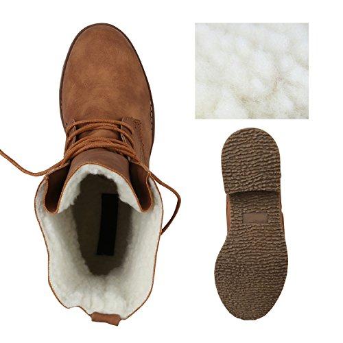 Stiefelparadies Damen Schnürstiefeletten Übergrößen Warm Gefütterte Stiefel Worker Boots Profilsohle Stiefeletten Wildleder-Optik Schuhe Flandell Hellbraun Braun Brooklyn