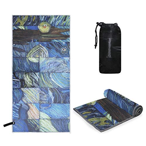Microfiber Travel Sports Towel Van Gogh's Starry Night Quick Dry Soft Lightweight Absorbent&Ultra Compact-Perfect for Camping Gym Beach Bath Yoga Backpacking Fitness +Gift Bag