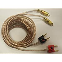 2 Pair Stackable Banana Plugs to 2 RCA Male (PHONO) Gold Plated 10 Foot