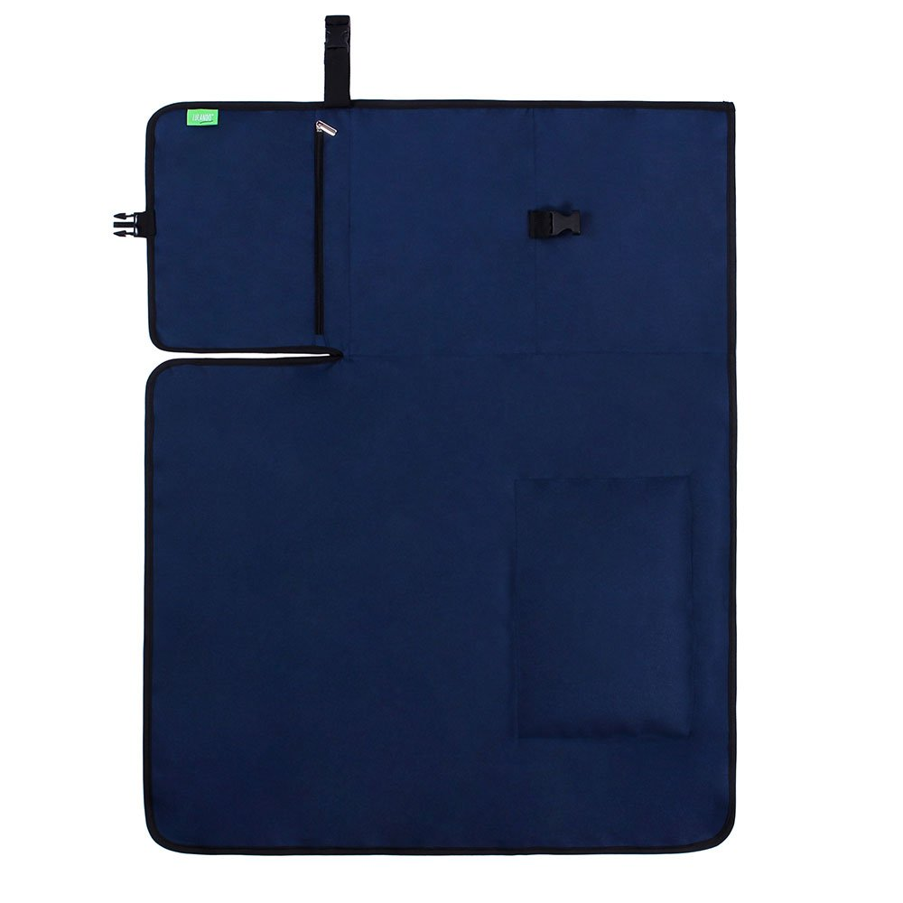 for Buggies Practical Pockets and Built-in Head Cushion Travel Navy Blue Compact LULANDO Waterproof Changing mat Set 50 x 60 cm Portable Lightweight Made of Washable and Waterproof Fabric