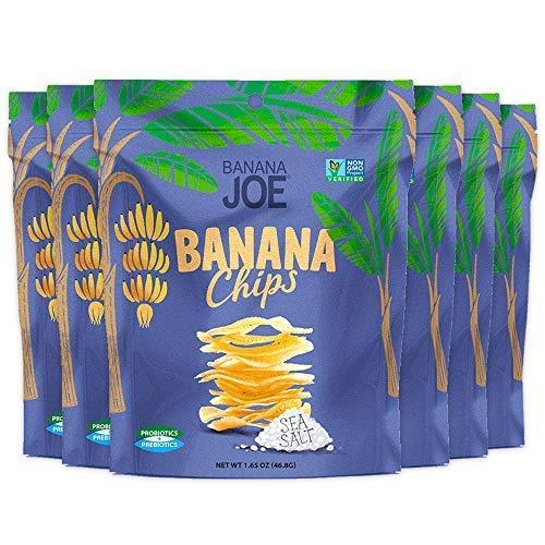 Banana Chips, Healthy Vegan Snacks for Kids & Adults, Gluten-Free Prebiotic & Prebiotic Snacks, 1.65oz (6-Count), Sea Salt Flavored Fruit Crisps, 100% Real Bananas, Yummy & Tasty Guilt-Free Snack