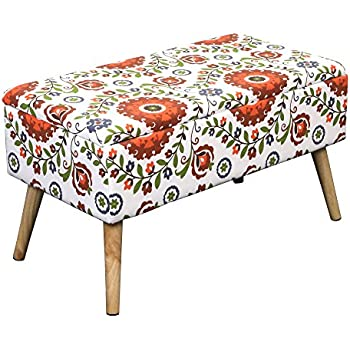Otto U0026 Ben 30 In EASY LIFT TOP Upholstered Ottoman Storage Bench U2013 Retro  Floral