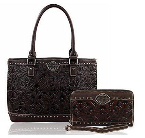 new-trinity-ranch-floral-tooled-leather-tote-wristlet-wallet-coffee