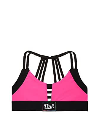 022059625d Victoria s Secret PINK Ultimate Strappy Back Sports Bra Neon Pink (Medium)