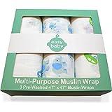 Easy Baby Multi-Purpose Muslin Swaddles - Cars & Elephants - 3 Pack