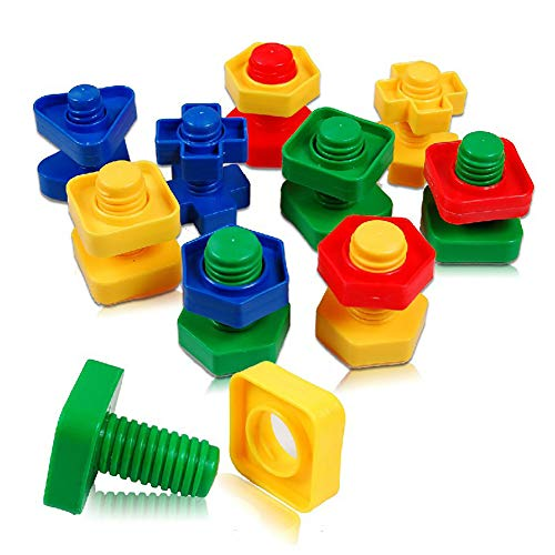xxiaoTHAWxe Nuts Bolts Toy, 40Pcs/Set 3D Colorful Screw Nuts Bolts Building Puzzle Game Intelligent Kids Toy Learning Development for Children Kids Boys and Girls 40pcs