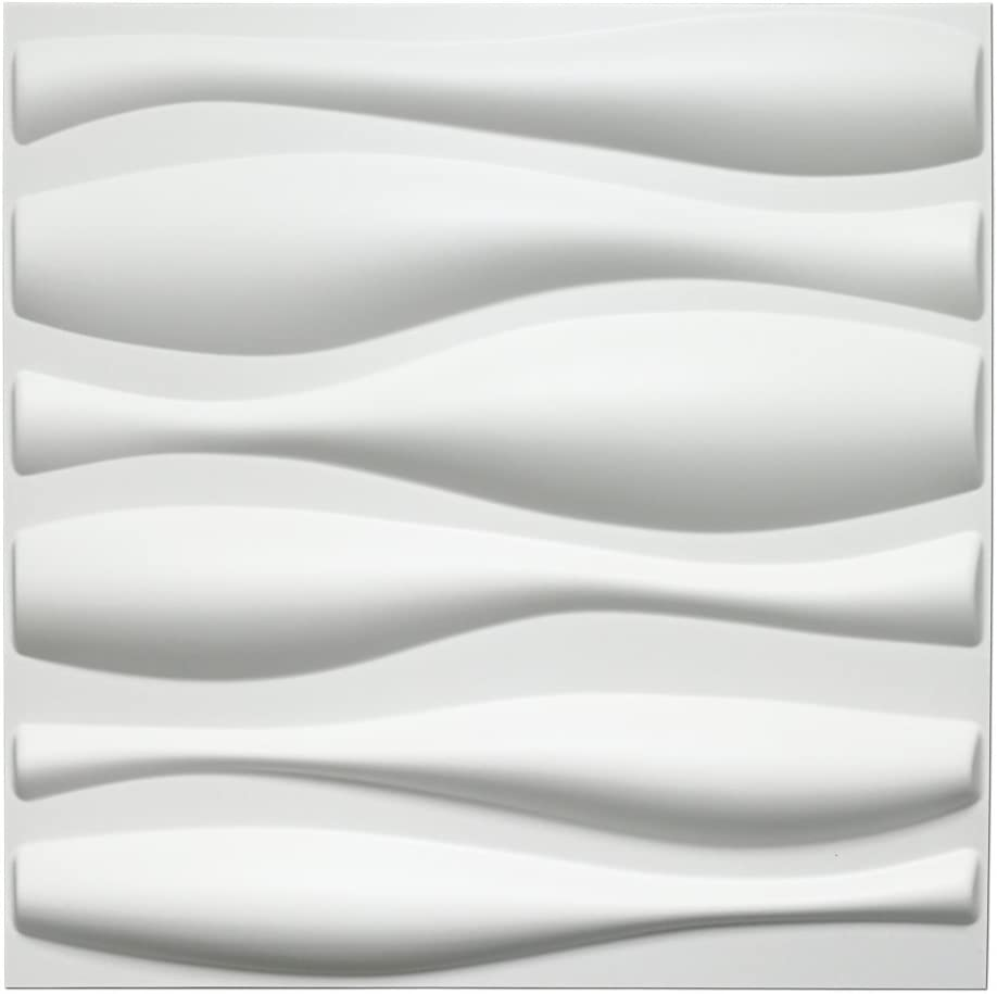 Art3d Durable Plastic 3D Wall Panel PVC Wave Wall Design, White, 12 Panels 32 SF