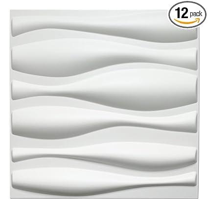 Art3d Durable Plastic 3D Wall Panel PVC Wave Design White 12 Panels 32