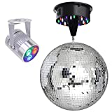 12'' Mirror Disco Ball DJ Stage Party LED Light Rotating Motor 3W Spotlight Kit (RGB)